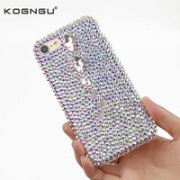 Kogngu Luxury Rhinestone Cases For Iphone 7s Case Tpu Silicon Bumper PC Back Cover For IPhone