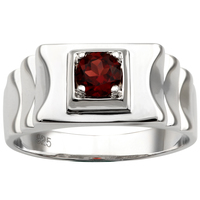 Red Garnet Men Ring Silver 925 Ripple Band Design January Birthstone 5.5mm Real Gemstone Jewelry Father Gift R520RGN
