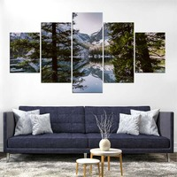 Canvas HD Printed Painting Wall Art 5 Panel Forest Landscape Poster Home Decoration Pictures For Living Room Modular Framework