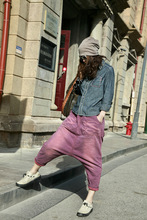 Product release in the spring 2015 the original design loose big yards wash elastic waist harlan woman nine points of the jeans