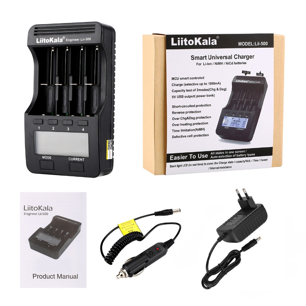 Liitokala lii-500 lii-500S LCD 3.7V 1.2V 18650 26650 21700 Battery Charger with screen ,Test the battery capacity Touch control(China)