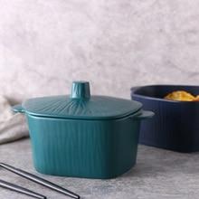 Creative Ceramic tableware Japanese Binaural Ramen Bowl Soup Rice Salad Dinnerware plate Large Capacity Cover