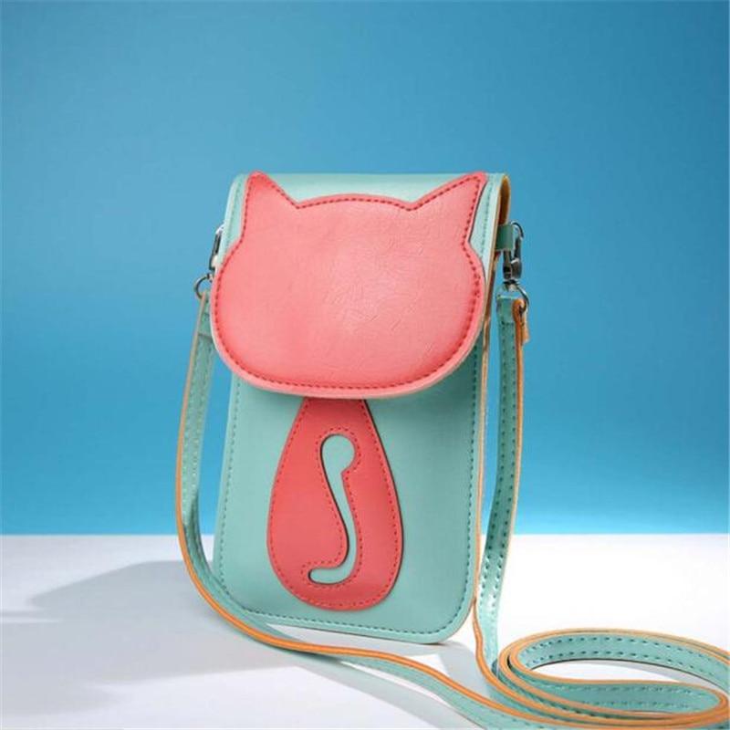 aabb9aa401f6 Wo weino Для женщин S Сумки на плечо сумка модные женские туфли сумка-мессенджер  милый Кот Кошелек PU кожаная сумка подарка Bolsa feminina
