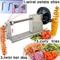 (3в1) Нержавеющая Сталь Торнадо резак для картофеля кудрявый фри Твистер хот-дог спиральный нож для картофельных чипсов машина фри резак