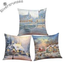 Santa Claus Decoration Cushion Cover Christmas Snowman Snowflake Deer Printed Socks Scarf Cartoon Pillow Case For