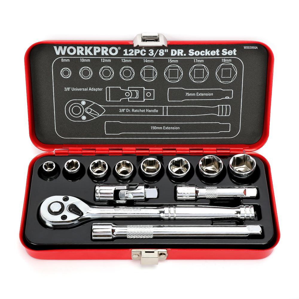 WORKPRO 12PC Home Repair Tool Set 3 8inch DR Sokcet Set Metal Box Set Ratchet Torque Wrench Screwdriver