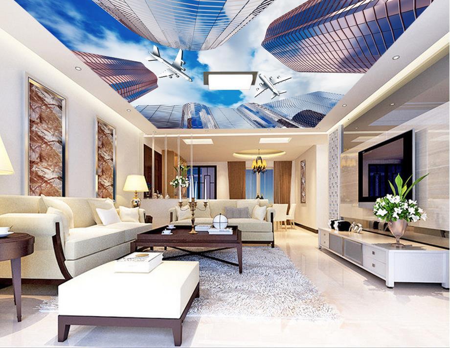 Aliexpress Com Buy Large Custom Mural Wallpapers Living: Custom 3d Ceiling Wall Murals Wallpaper Aircraft Rise Non