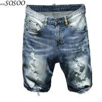 Brand Summer New Men's Stretch Short Jeans Fashion High Quality Splash ink Ripped Jeans for men Shorts men jeans Clothes #TC049