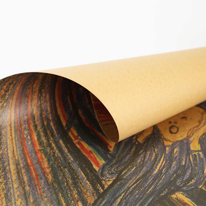 Плоский стикер на стену Классический Ностальгический плакат плакать Munch/плакат на крафт-бумаге Ретро бар кафе декоративные наклейки на стены, 47 (Европа) х 36 см