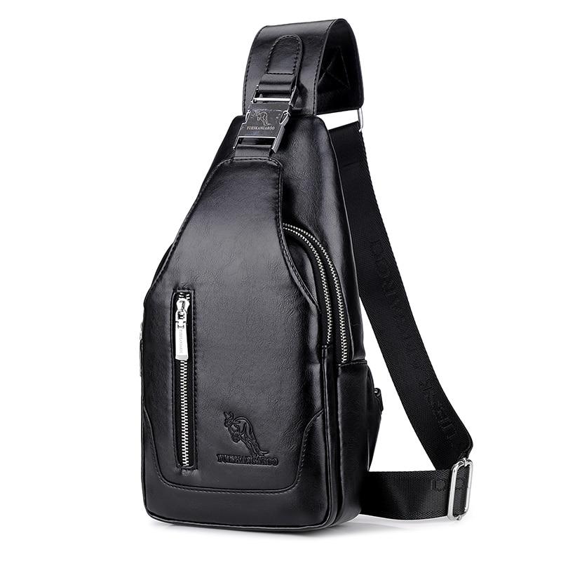 YUES KANGAROO Famous Brand bărbați piept sac din piele un singur umăr geanta negru bărbați de călătorie Crossbody Carte de vară Rucsac Messenger Bag