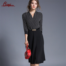 Women Vintage 3/4 Sleeve Fashion Stripe Patchwork Black Long Dress
