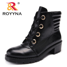 ROYYNA 2018 Autumn Fashion Women Boots Platform  Lace Up Leather Short Booties Black Ladies Shoes Comfortable Light Soft Trendy