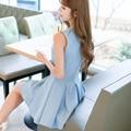 Pleated dress молния танк Сплошной цвет Женская Одежда 2017 Мода Женщины Dress Ladies Повседневные Платья Vestidos F6844