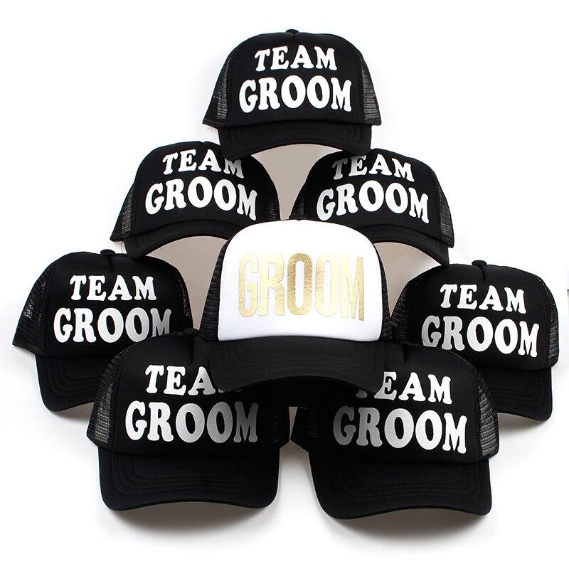 new arrival team groom printing black mesh baseball cap for wedding party adjustable cotton snapback hat unisex hip hop hats