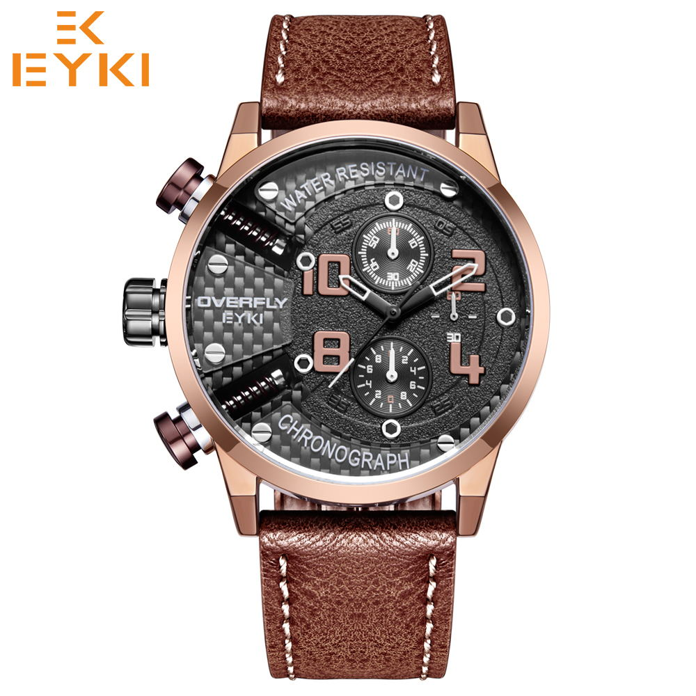 EYKI Luxury Brand Men Sport Watches Quartz Military Wristwatches Waterproof Fashion Male Clock Leather Strap relogio