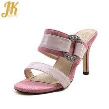 JK Summer High Heels Women Slippers Open Toe Slides Shoes Flock Suede  Crystal Footwear 2018 New 1fcfe138a718