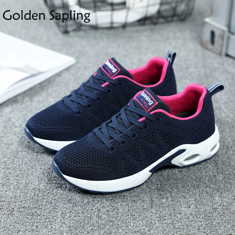 Golden Sapling Women Tennis Shoes Breathable Women's Sneakers Fitness Air Mesh Fabric Rubber Women's Sport Shoes Wedge Sneakers sapling