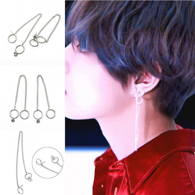 1 Piece KPOP BTS V Earrings Bangtan Boys V Doulbe Chain Suga Fashion Drop Earrin