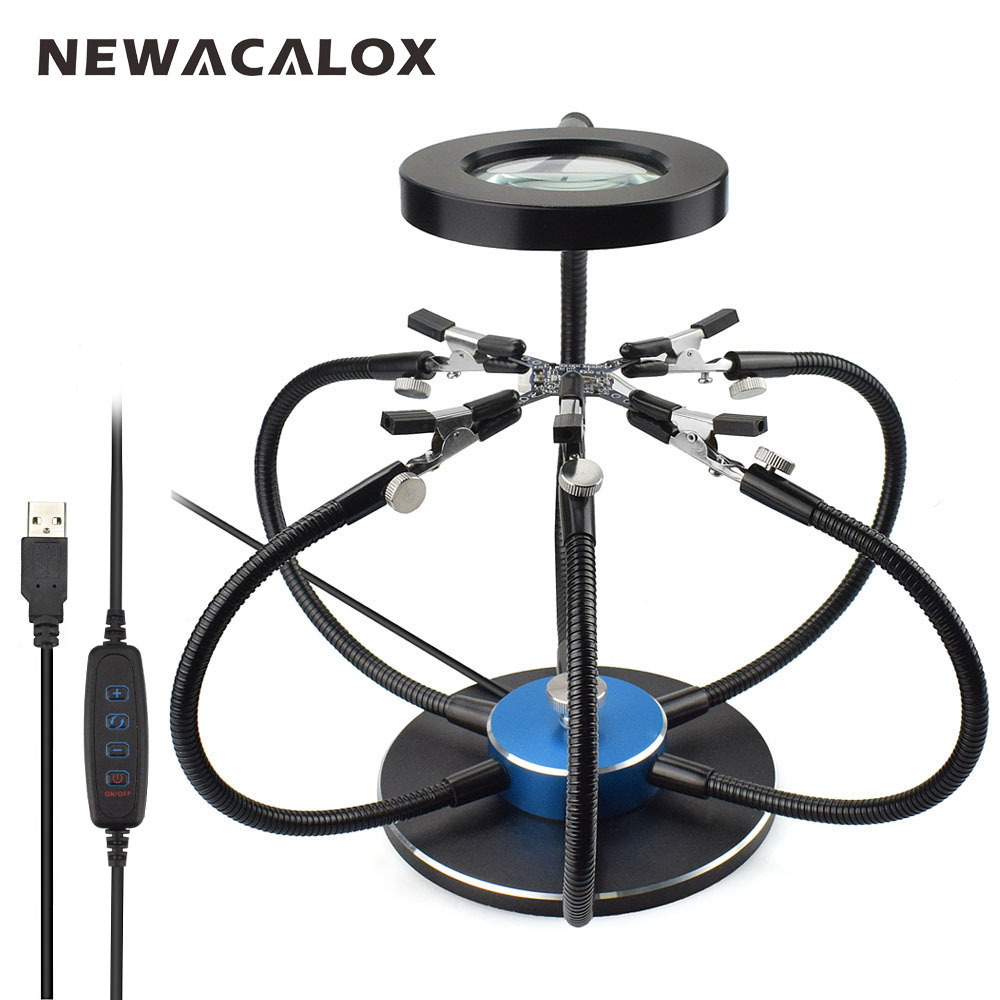 NEWACALOX Soldering Iron Holder Soldering Station USB 3X Magnifying Glass LED Lights 6pcs Flexible Arms Third Hand Welding Tool