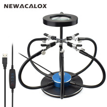 NEWACALOX Soldering Iron Holder Soldering Station USB LED Lights 3X Magnifying Glass 6 pcs Flexible Arms Third Hand Welding Tool wozniak soldering magnifying glass holder with led lights magnifier 10x 20x pcb repair hand tool bench rack iron bracket