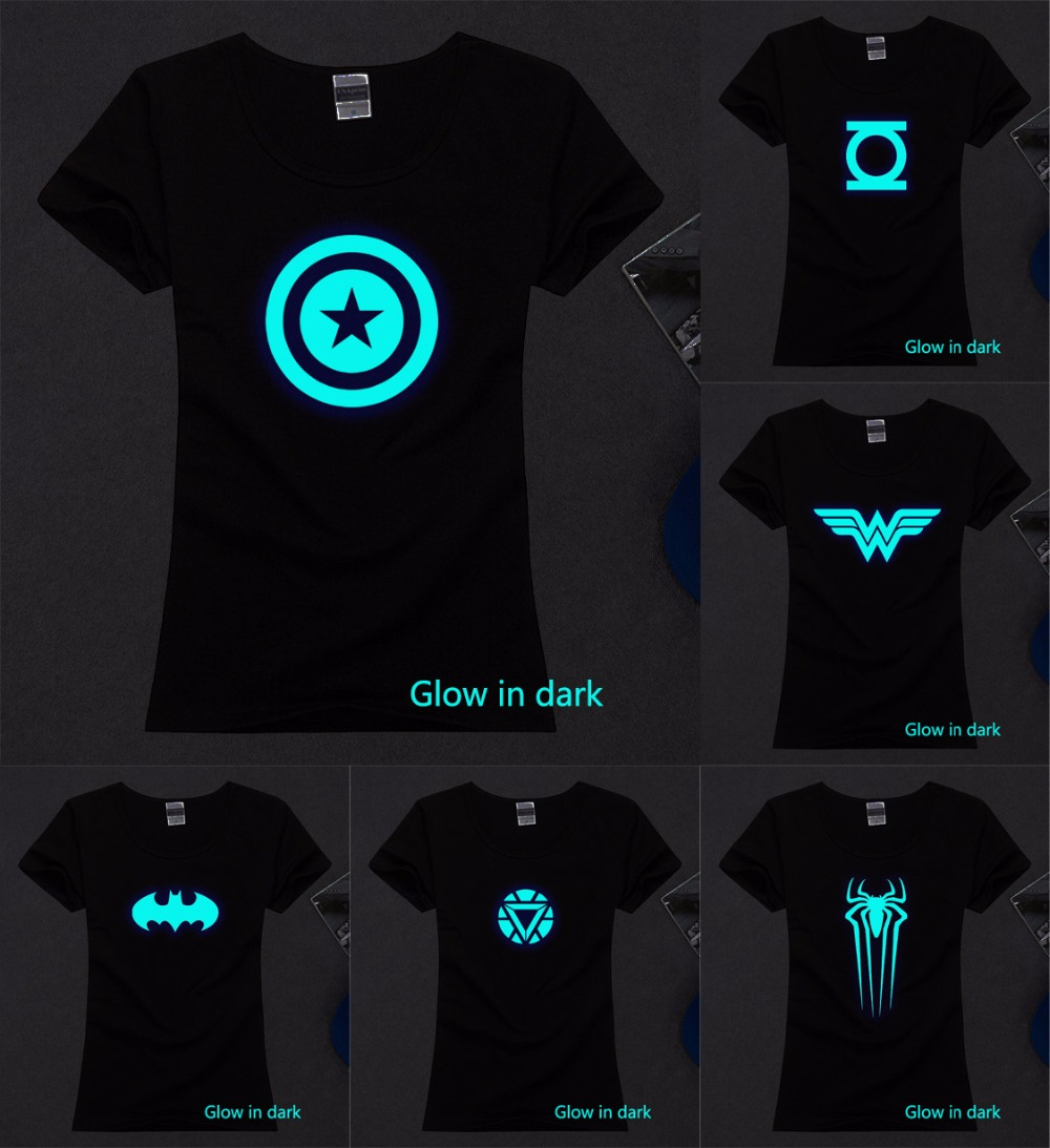 New women lady girl wast slim batman spiderman the flash ironman cosplay glow in the dark t shirt luminous tshirt tee