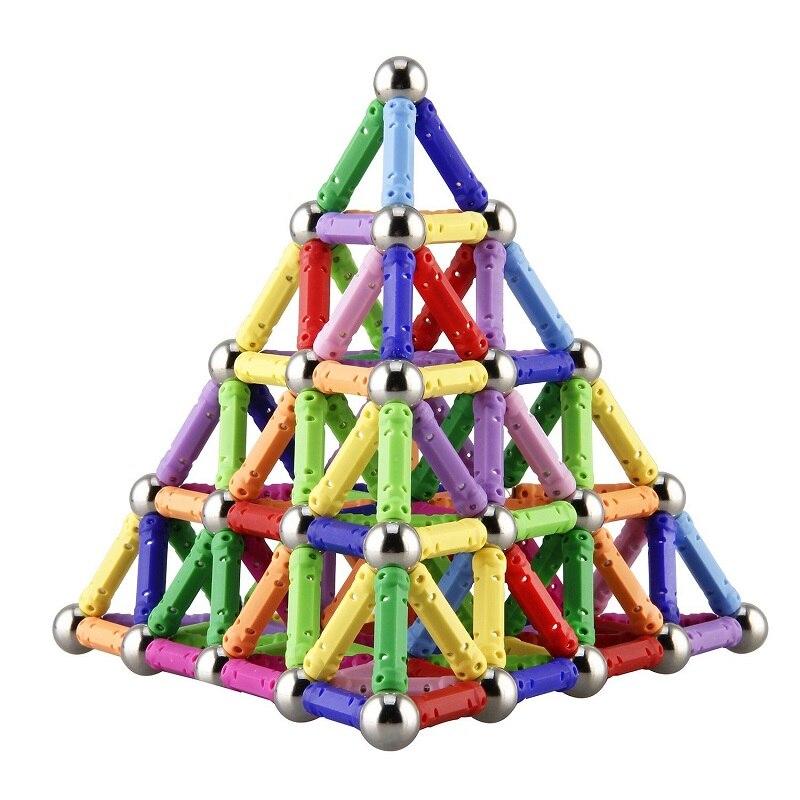 Magnétique Bâton et Métal perles de Construction de La Créativité et Construction Jouets Magnétique Designer Empilage Drôle Jouets Pour Enfants Cadeaux