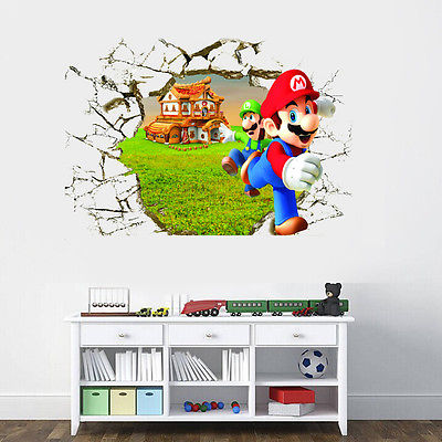 super mario wall stickers for kids room pvc wall decal 60*40cm diy ...