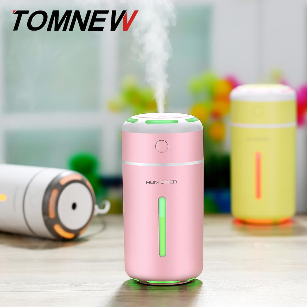 TOMNEW 230ML Cool Mist Humidifier USB Mini Portable Ultrasonic Air Diffuser Purifier with LED Night Light for Home Office or Car