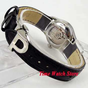 27mm Parnis lady wrist watch sapphire Royal leather bracelet steel blue dial waterproof dive pilot auto mechanical japan 1069