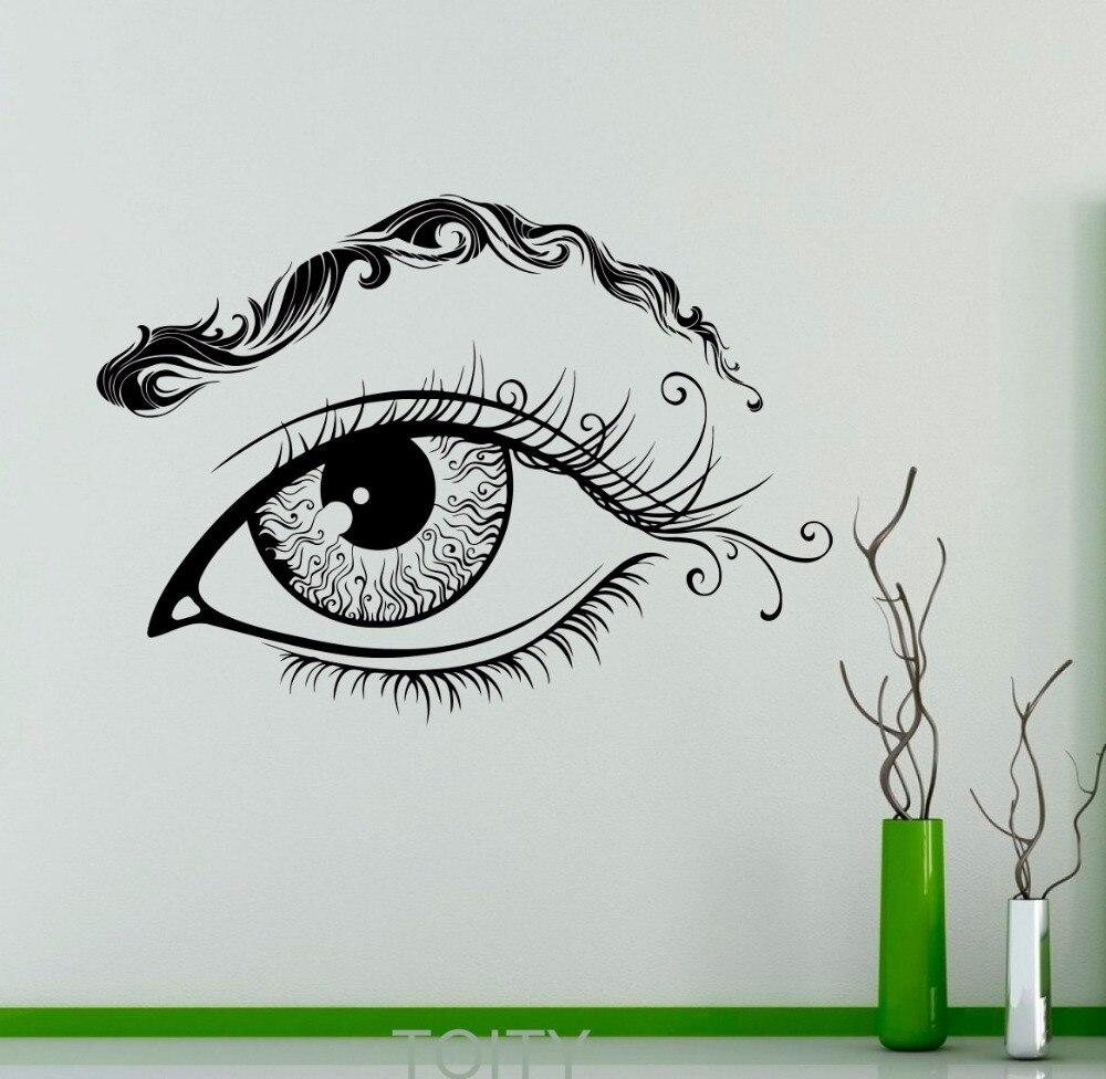 Eyes wall stickers wow modern beauty salon valentine wall decoration - Eye Eyebrows Wall Vinyl Decal Eyelashes Sticker Makeup Beauty Salon Shop Home Interior Bedroom Decor Mural