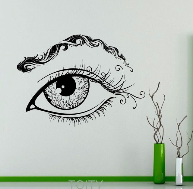 Eye eyebrows wall vinyl decal eyelashes sticker makeup beauty salon shop home interior bedroom decor mural