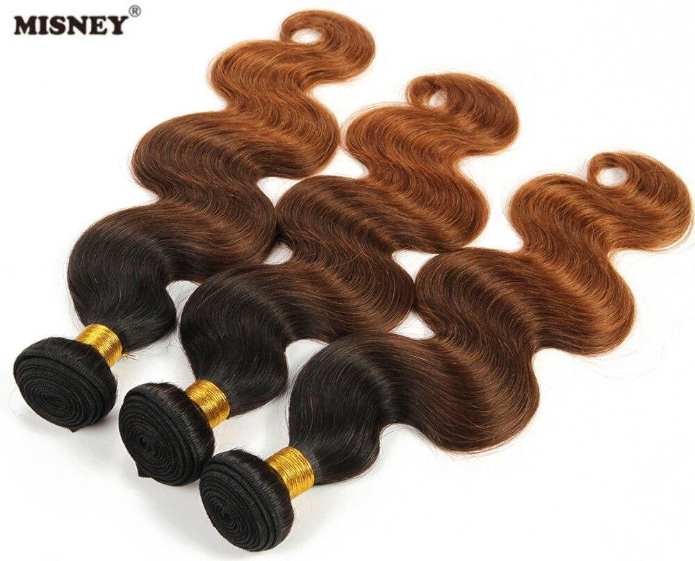 Ombre бразильские наращивание волос 100% натуральная человеческих волос Weave Ombre три тона объемная волна T1B/4/30 Ombre блондинка Цвет 3 Связки (bundle)