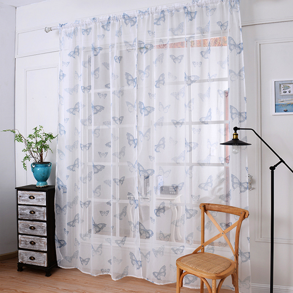 Sheer Butterfly Curtains - 2016 butterfly curtains tulle window curtain for living room bedroom kitchen curtains printed sheer voile curtains