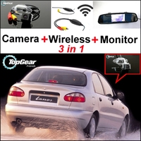 3 in1 Rear View Special Camera + Wireless Receiver + Mirror Monitor Easy DIY Back Up Parking System For Daewoo ZAZ Lanos Sens