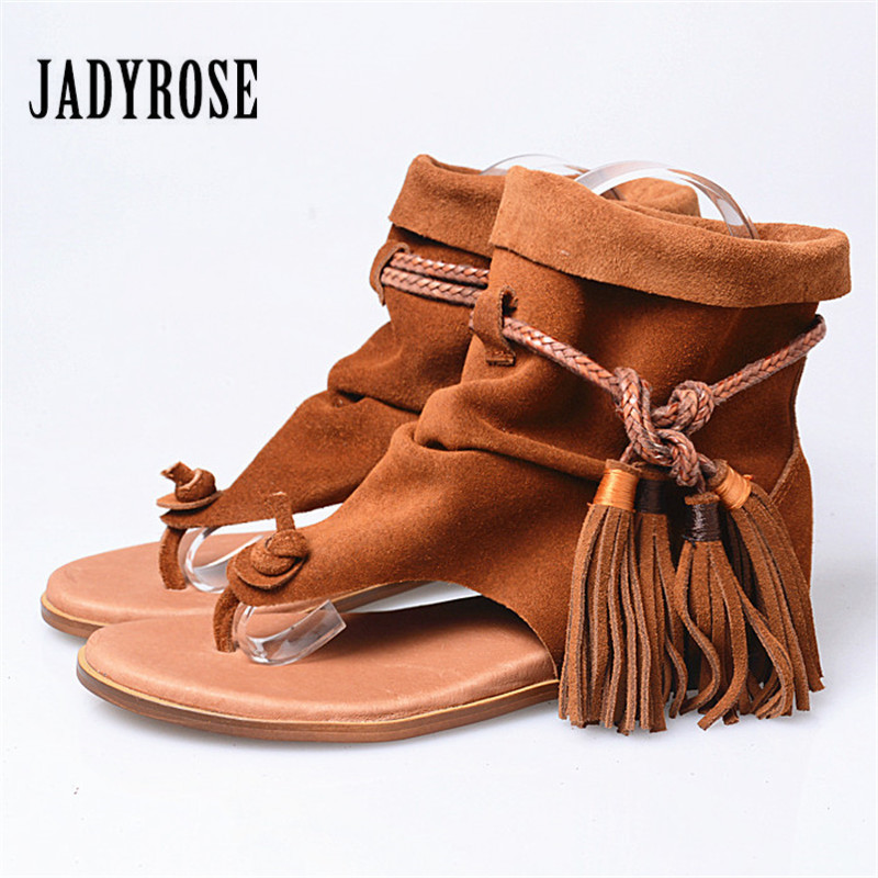 Jady Rose Ethnic Suede Women Gladiator Sandals Fringed Flip Flops Beach Shoes Casual Height Increased Lace