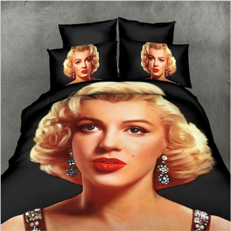 marilyn monroe 3d bedding sets 4pc queen size ployester cotton bed sheets bed set home textile