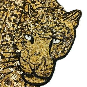 Image 4 - 2pc ヒョウビーズ刺繍パッチスパンコールアップリケ動物アップリケためのパッチを刺繍服 parches ropa AC1472