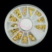 1 Set Mix 12 Styles Summer Ocean Series Starfish Shell Sea Horse Feather Gold Plated Alloy Charms Jewelry Making Nail Art Decor(China)