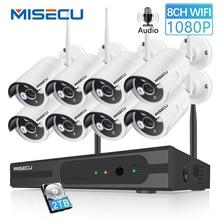 MISECU 8CH 1080 P CCTV Беспроводной Системы аудио запись 4/8 шт 2.0MP ИК Открытый P2P Wi-Fi IP для камеры наблюдения комплект видеонаблюдения