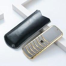Разблокированный V03 бар роскошный Bluetooth циферблат металлический корпус кожа для пожилых людей супер сигнал GSM бар русский тонкий старый телефон