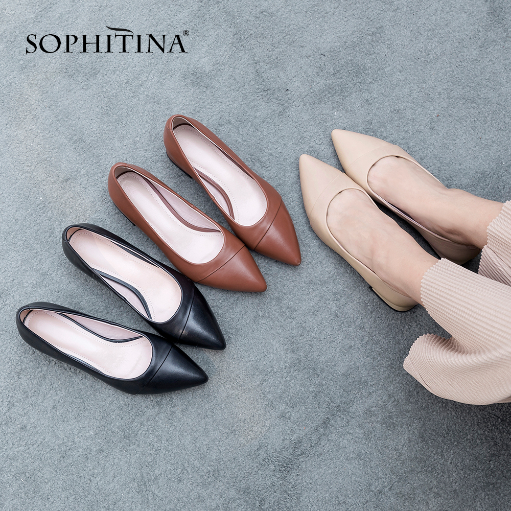 SOPHITINA 2019 Casual Women's Pumps Hot Sale Sheepskin Slip On Lady Shoes Concise Mature Pointed Toe Turned over Edge Pumps PO61-in Women's Pumps from Shoes    1