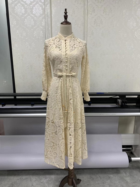 2019 summer women hollow lace long style dress holiday long dress