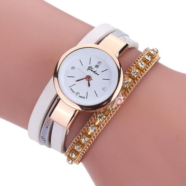 ceaf0378b MINHIN New Brand Luxury Watches Synthetic Diamond Chain Gold Bracelet  Ladies Watch PU Leather Electronic Quartz