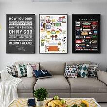 Amigos tv mostrar citações hd papel de parede minimalista arte da parede posters quadros pintura quarto decoração casa arte
