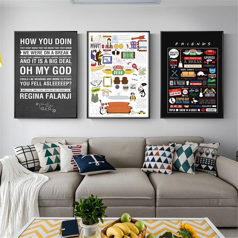 Friends TV Show Quotes HD Wallpaper Minimalist Wall Art Canvas Posters Prints Painting Wall Pictures Bedroom Home Decor Artwork-in Painting & Calligraphy from Home & Garden