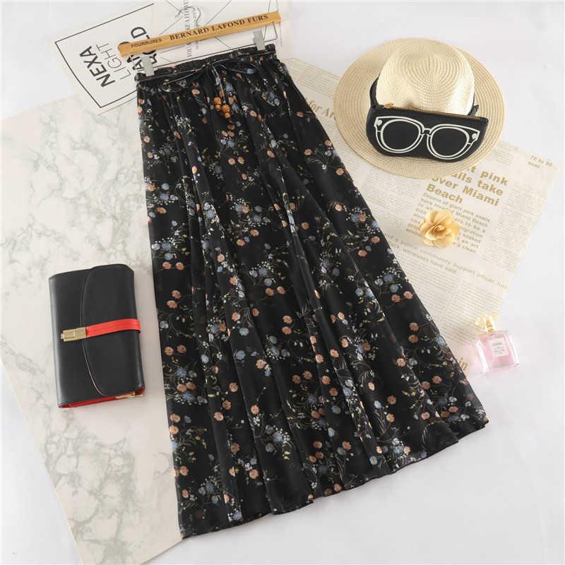 Surmiitro largo Maxi elegante falda de verano para mujeres 2019 de moda señoras blanco negro Floral estampado de alta cintura sol falda para la escuela femenina