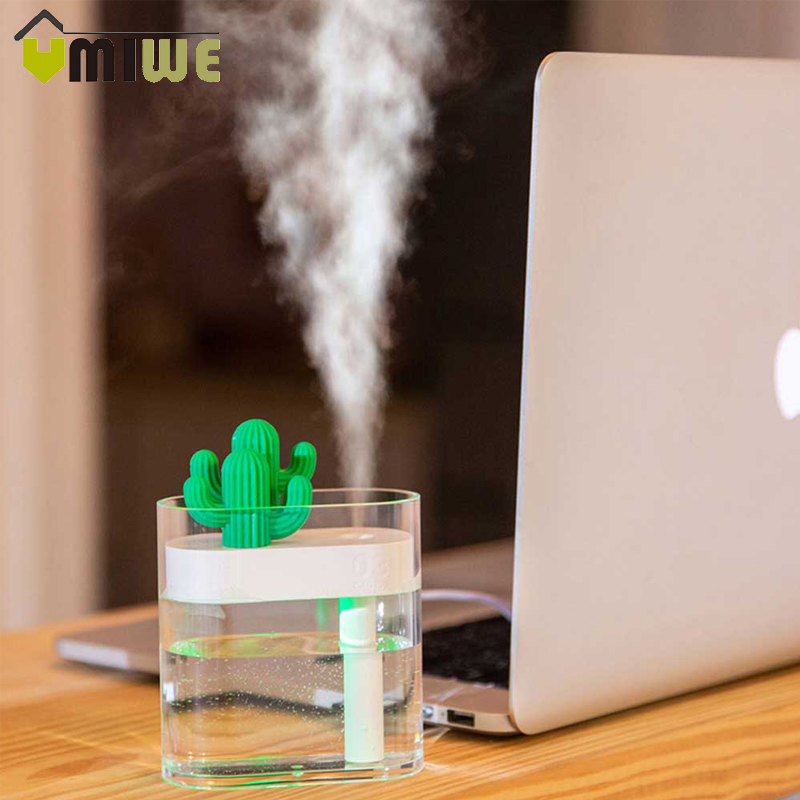 160ML Cactus Ultrasonic Air Humidifier USB Essential Oil Diffuser Car Purifier Aroma Diffusor Anion Mist Maker For Home Office