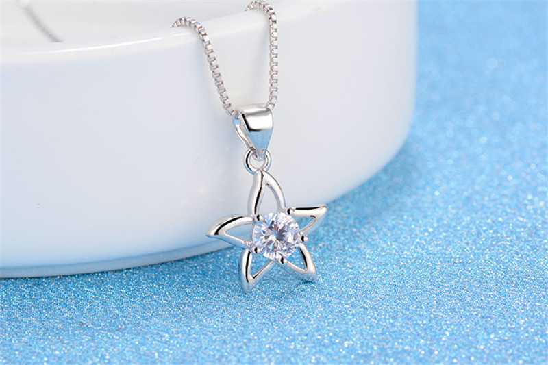 Everoyal Vintage 925 Sterling Silver Necklace Girls Clavicle Accessories Fashion Zircon Flower Pendant Necklace For Women Bijou in Pendant Necklaces from Jewelry Accessories
