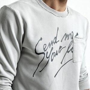 Image 3 - Simwood marca hoodies dos homens 2020 primavera nova moda magro ajuste carta impressão o pescoço camisolas masculinas plus size agasalho wt017020