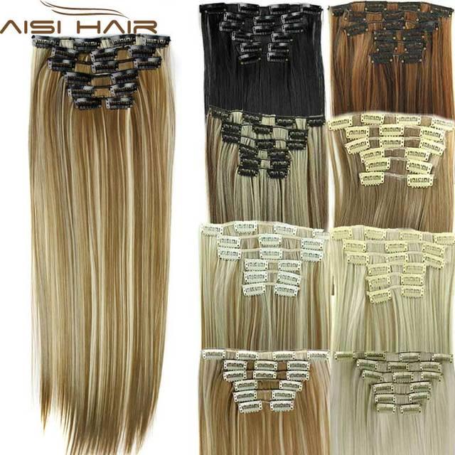 Кусок волос 23 дюймов 140g Прямые 16 клипов в искусственных волосах Стайлинг синтетический клип в наращивания волос 6 шт / комплект Теплостойкие комплект волос